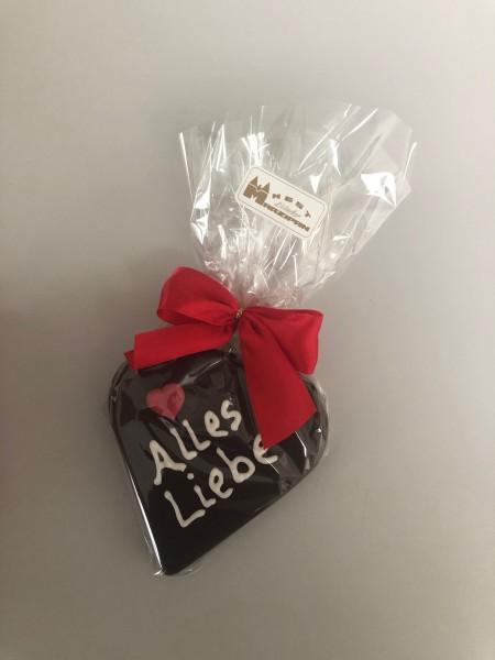 "85g Marzipan-Herz ""Alles Liebe"" in Zartbitterschokolade"