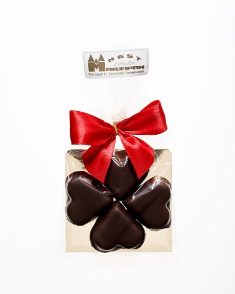 Marzipan-Kleeblatt in Zartbitterschokolade