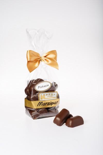 Marzipanhappen mit Pistazie in Zartbitterschokolade
