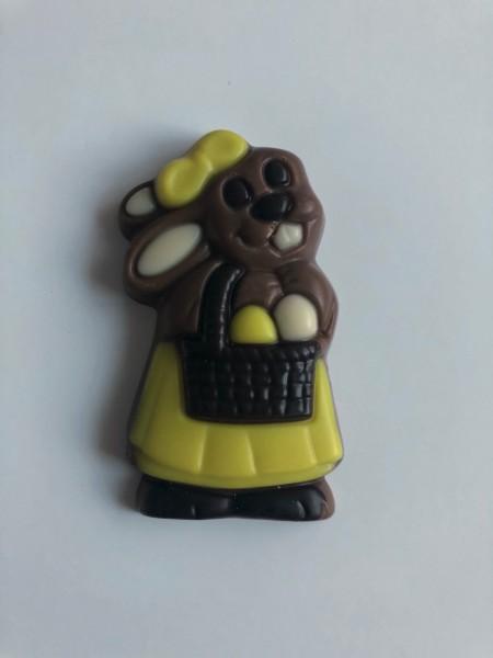 """""""Häsin mit Korb"""" Schokoladenrelief 10g"""
