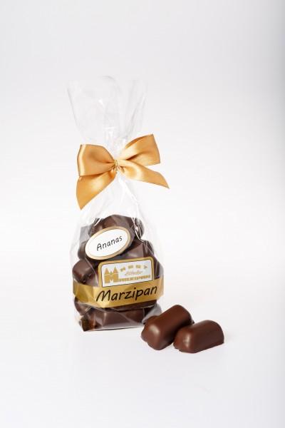 "Marzipan-Happen ""Ananas"" in Zartbitterschokolade"
