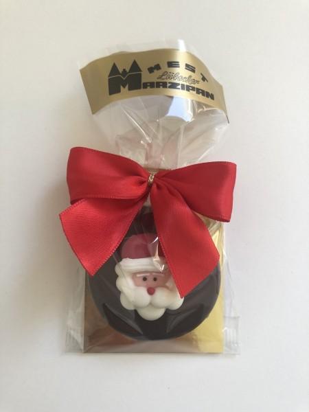"""Marzipan-Torte in Zartbitterschokolade """"Zucker-Weihnachtsmannkopf"""""""