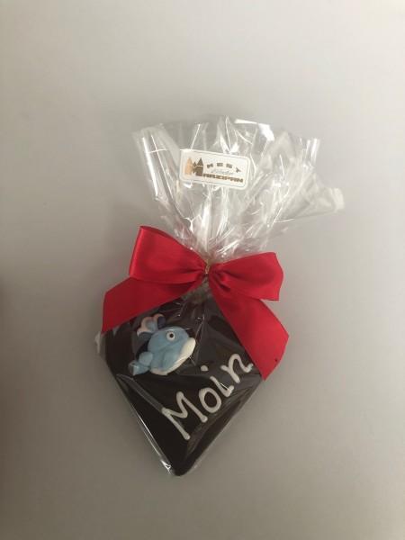 "85g Marzipan-Herz ""Moin"" in Zartbitterschokolade"