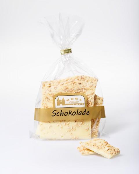 Weiße Bruchschokolade mit Haselnusskrokant