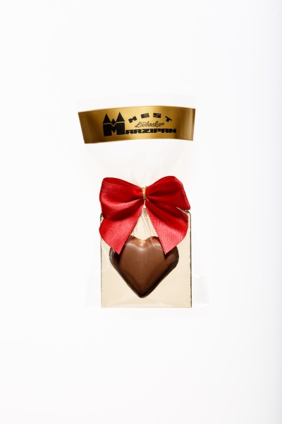 Marzipan-Herz in Vollmilchschokolade