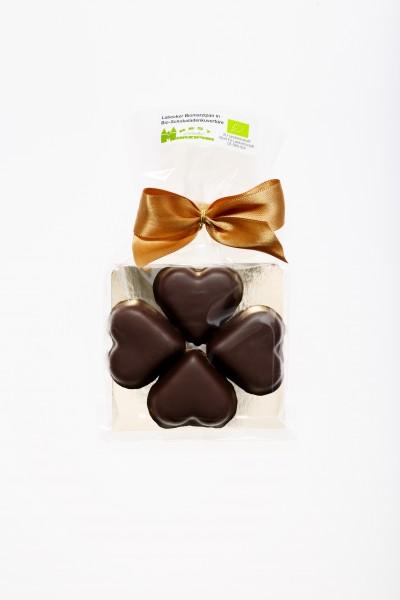 Bio-Marzipankleeblatt in Bio-Zartbitterschokolade