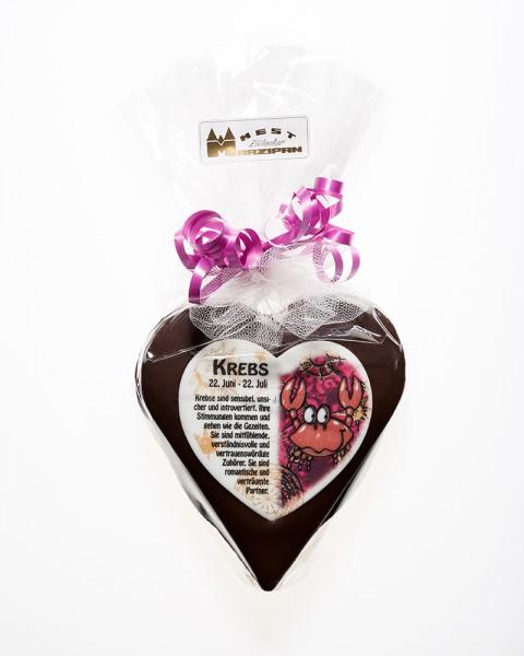 """Marzipan-Herz """"Sternzeichen"""" in Zartbitterschokolade"""
