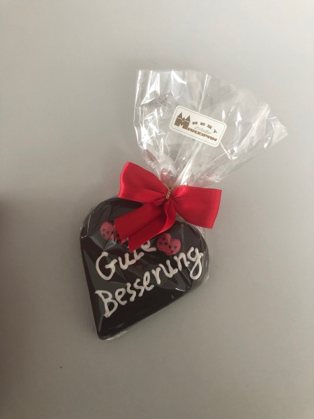 """85g Marzipan-Herz """"Gute Besserung"""" in Zartbitterschokolade"""