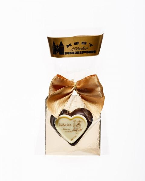 "Marzipan-Herz - ""Liebe ist..."" in Zartbitterschokolade"