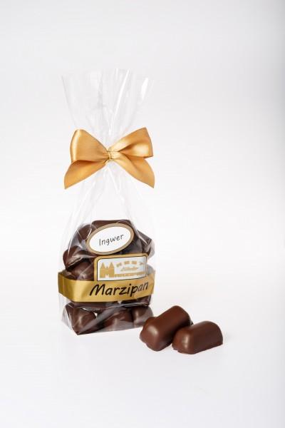 Marzipanhappen mit Ingwer in Zartbitterschokolade