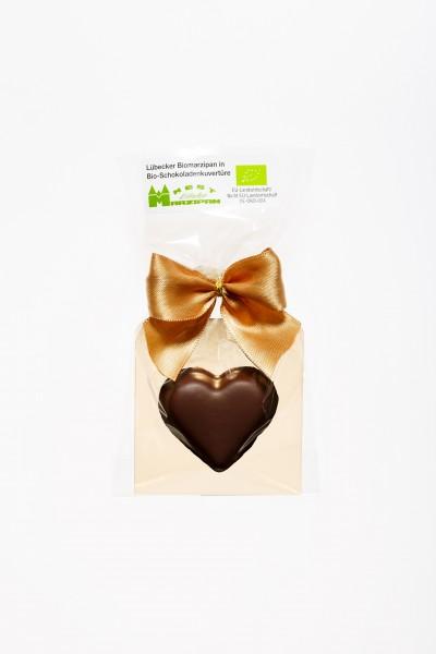 Bio Marzipan-Herz in Bio-Zartbitterschokolade